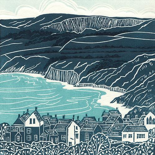Robin Hood's Bay, Yorkshire Coast, original linocut print