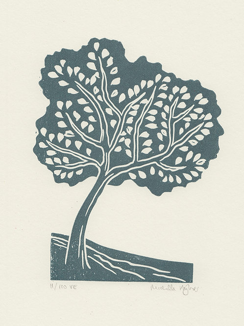 Tree, original linocut print - Slate blue