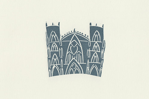 York Minster linocut print - Slate blue