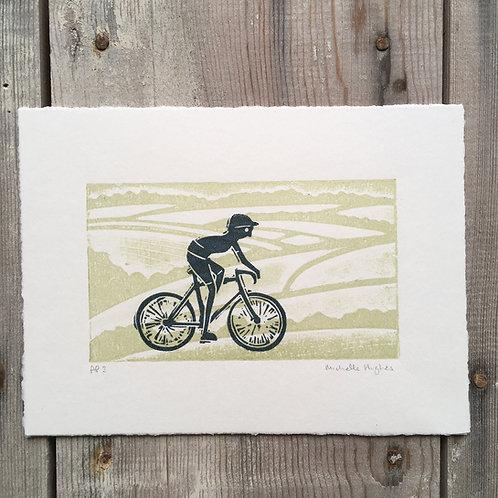 Cycling linocut and monoprint