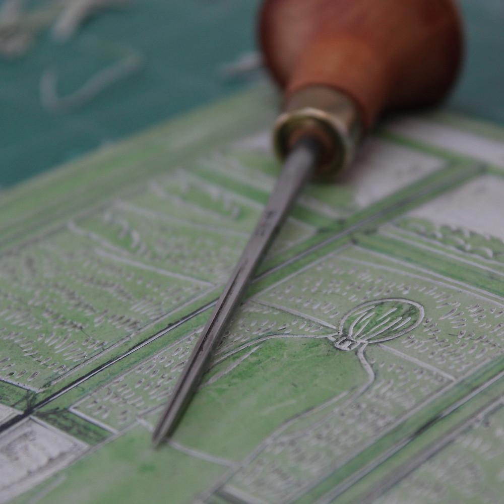 Detail of linocut block for the Sutton Hoo Edith Pretty linocut illustration