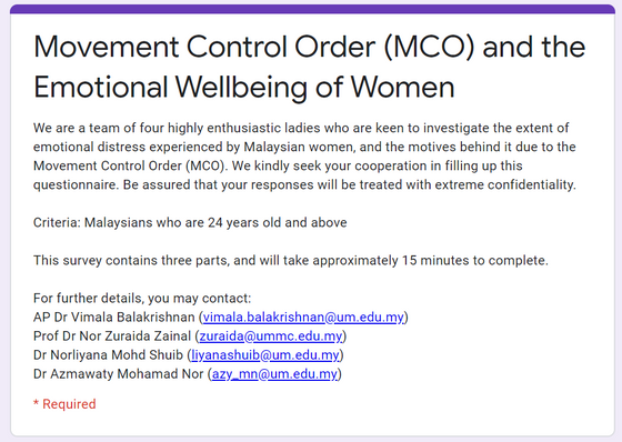 @ Survey: Women Well being during MCO