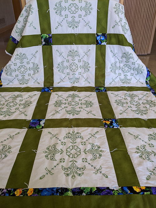 """Study in Green"" hand-embroidered Quilt"