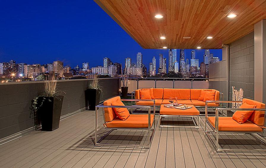 Rooftop, design, inteior design, penthouse, luxury, skyline, orange, modern, deck, garden, urba,