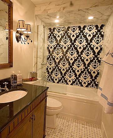 Custom Damask Marble Bathroom