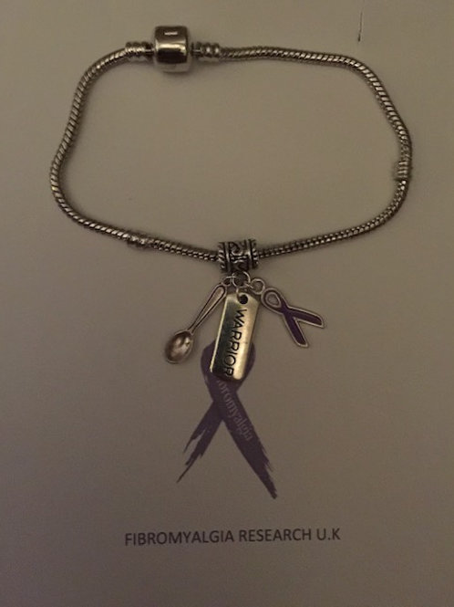 Snake bracelet with spoon, warrior and ribbon charm