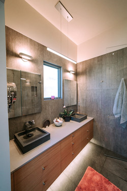 Master bath in modern style.