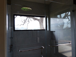 Shower with a view of an oak tree.