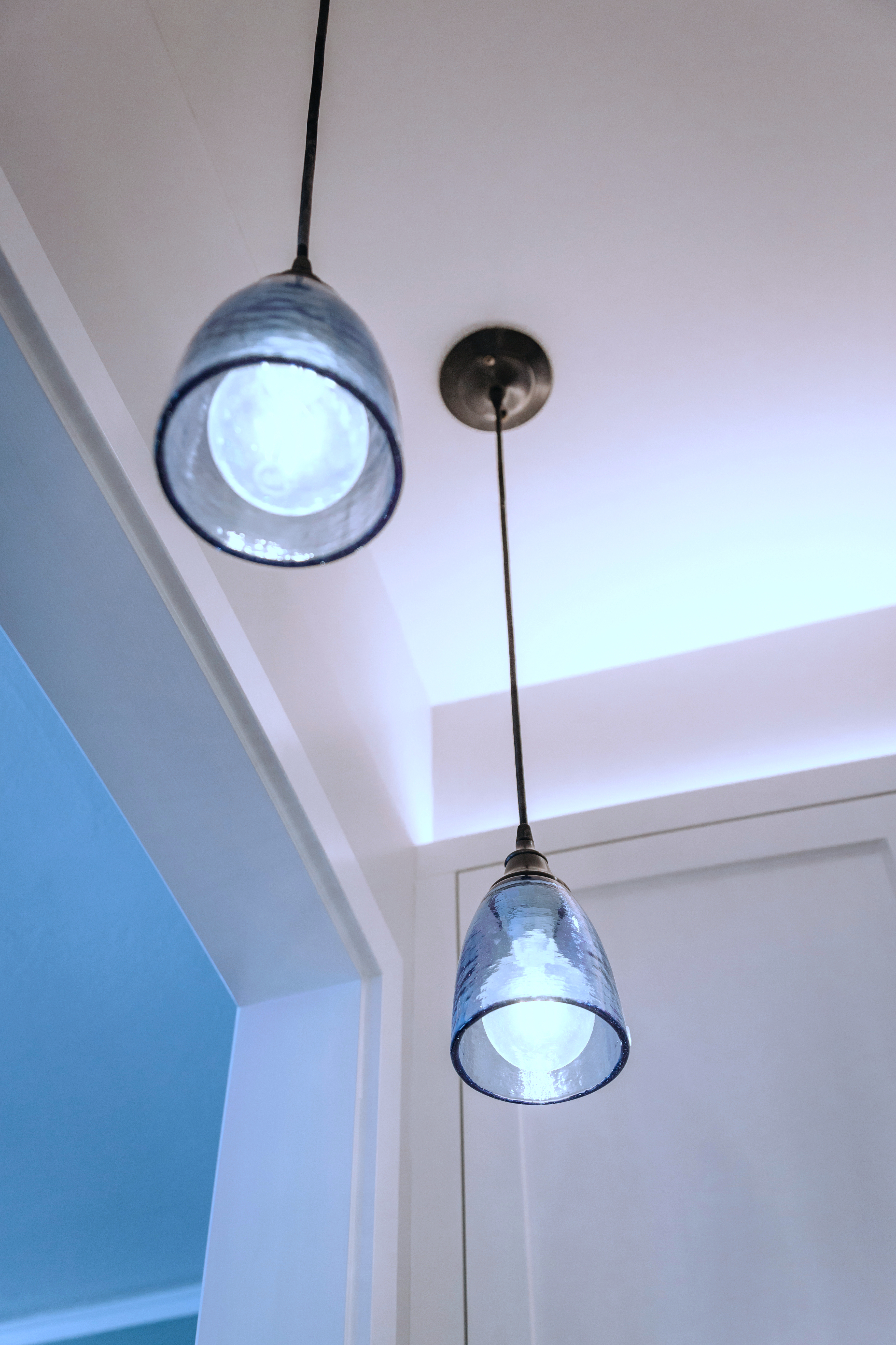 Detail of blue glass hanging lights.