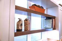 Detail of wood shelves detail.