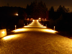 Looking down the driveway at night.