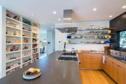 Kitchen remodel by Cerami Builders featured in a Houzz.com article highlighting open shelving.