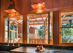 Kitchen overlooking the deck.