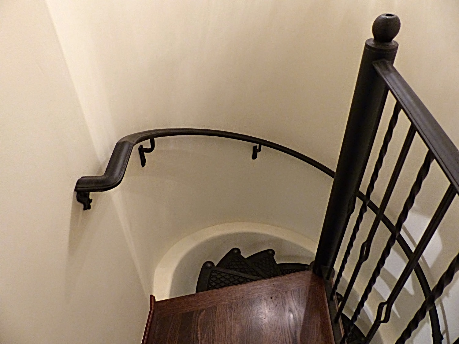 Spiral staircase to wine cellar