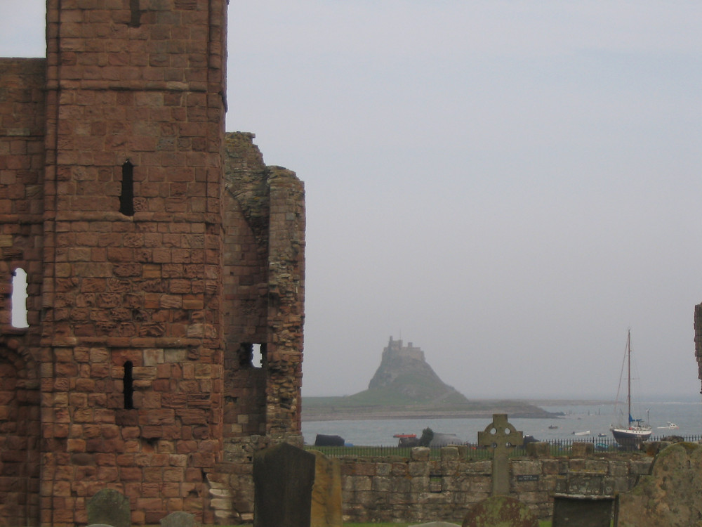 Ruins of the Lindisfarne Priory on Holy Island, UK