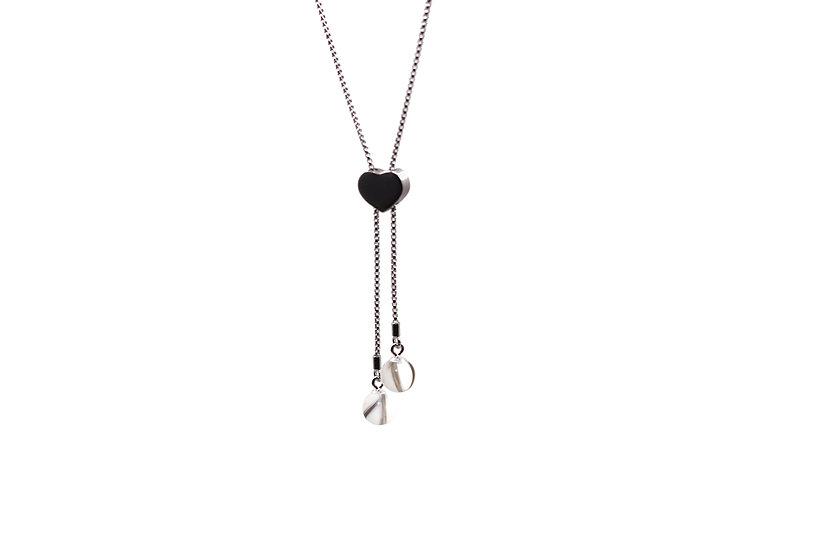Sautoir Réglable Cœur Double Perles - Cheveux d'Ange