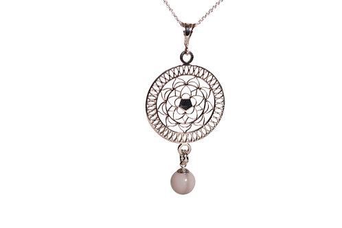 Collier mandala 8mm perle de Lait maternel solidifié