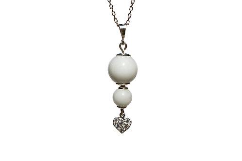 Collier double perle cœur Zircons Lait maternel solidifié