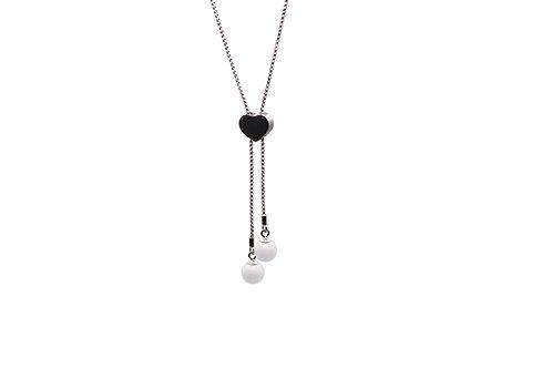 Sautoir Réglable Cœur Double Perle Lait Maternel Solidifié