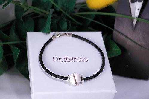 Bracelet Cuit noir Cheveux d'ange