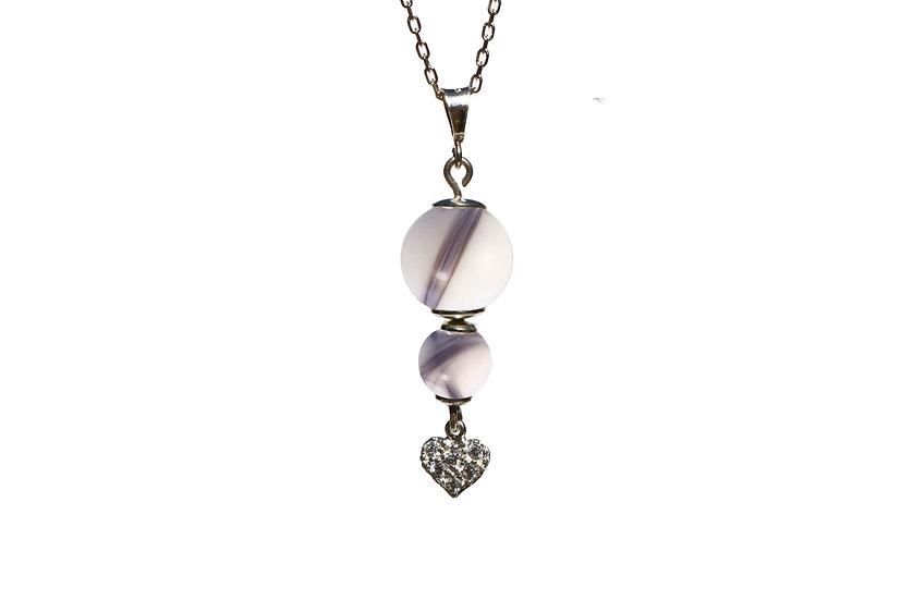 Collier Double Perles Cœur Zircons - Cheveux d'Ange
