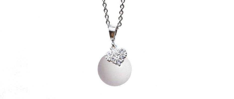 Collier cœur Zircons 12mm Lait maternel solidifié