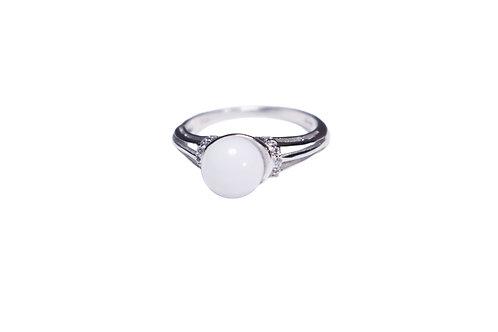 Bague Zircons perle 8mm Lait maternel solidifié