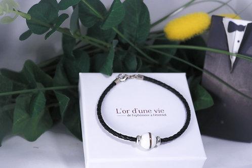 Bracelet Cuir noir Lait maternel solidifié