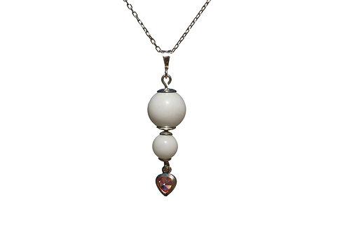Collier double perle, cœur cristal Lait maternel solidifié