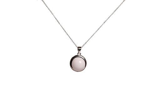 Collier cadre rond perle 12mm Lait maternel solidifié