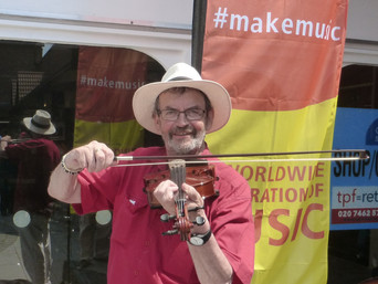 Make Music Day UK - Caterham Church Walk Shopping Centre, 'have a try with an orchestra instrume