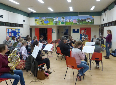 Trainee conductors try out their skills...and instrumentalists produced  sounds of music