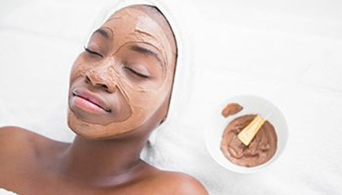 Facial Mask on black woman's face
