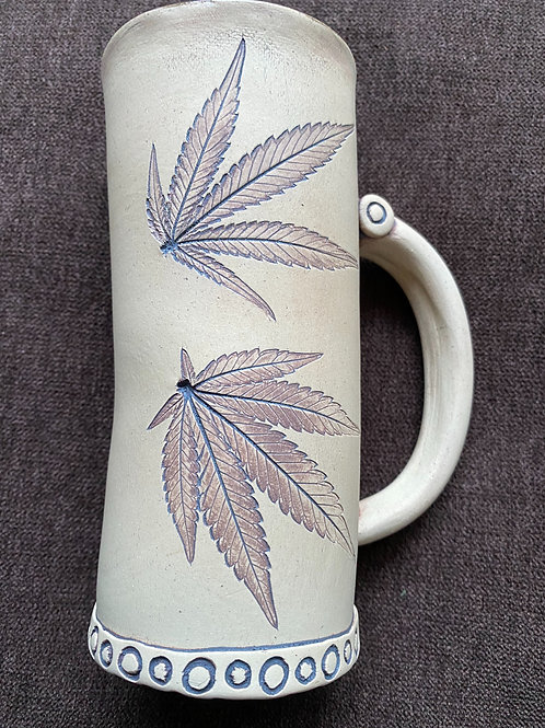 Light clay sativa leaf mug