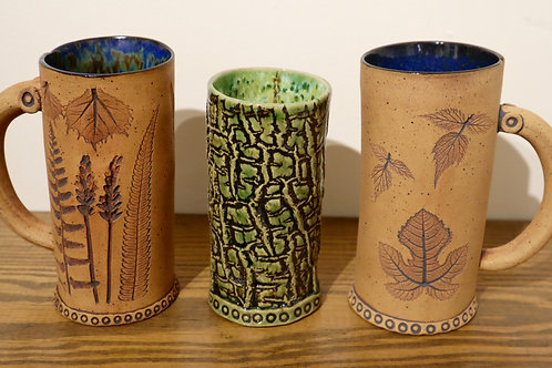 Bark and plant impression mugs
