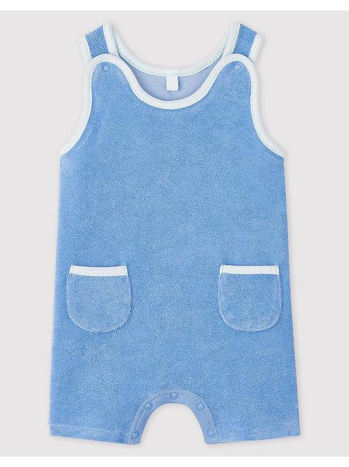 PETIT BATEAU Blue Terry Dungaree Shorts