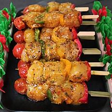 Eastern spiced chicken kebabs. Each