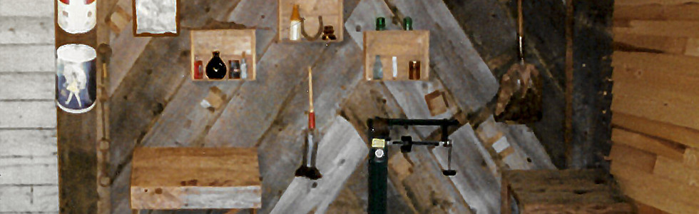 Corner of Tasting Room with Antiques provided by   our customers. (Summer 1992)