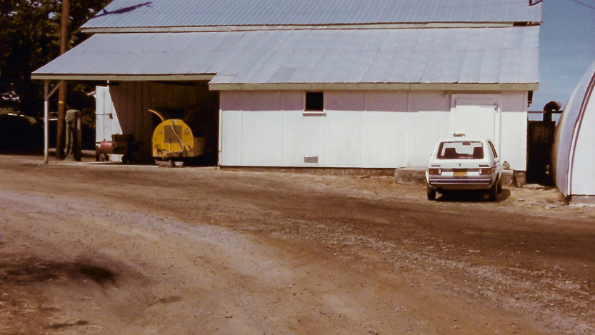 Original Packing Shed with Gas Pump & Old Yellow Sprayer (1985)