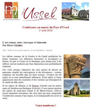 """Conférence  """"L'art roman entre Auvergne et Limousin"""""""