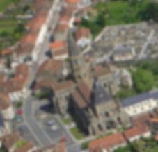 Vue du drone Collégiale Le Dorat
