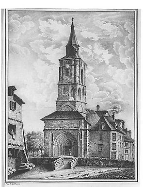 Gravure de l'Abbaye de La Souterraine