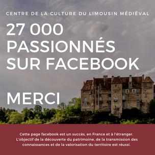 Plus de 27 000 abonnés sur facebook !