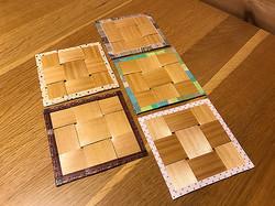 へぎ板でコースターを試作