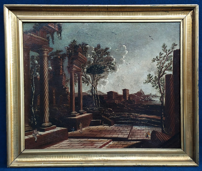 "Dipinto olio su tela ""Architetture"" - scuola romana XVIII sec."
