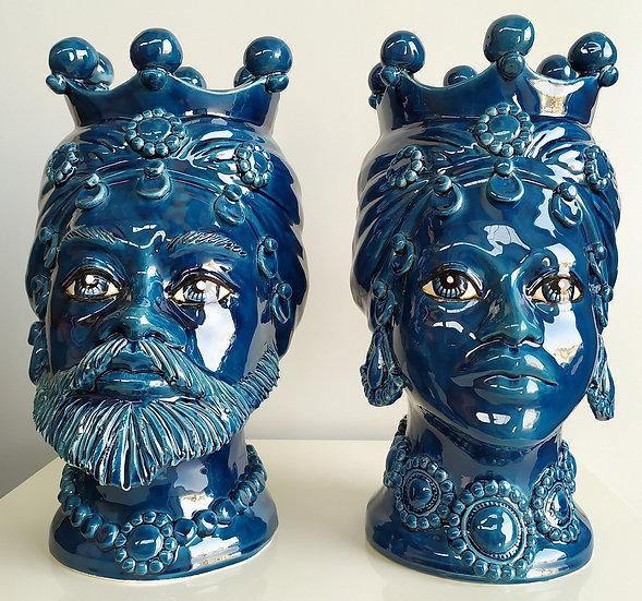 Coppia Teste di Moro blu cm 35 h - ceramica di Caltagirone