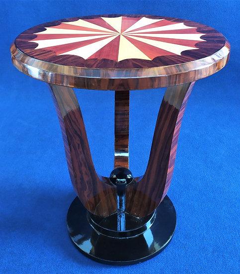 Tavolino tondo stile Art Deco in radica con top intarsiato