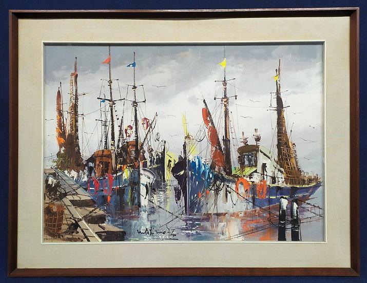 """Dipinto olio su tela """"Pescherecci"""" - firmato - 1973"""