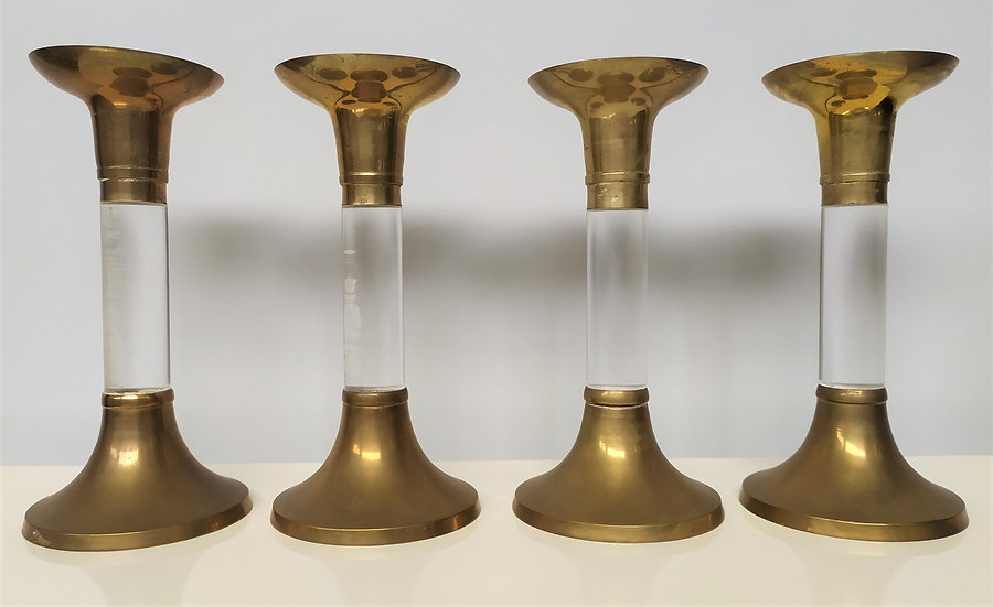 4 candelieri vintage in ottone e perspex - Italia anni '70