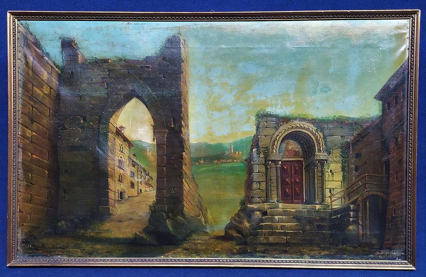 """Grande dipinto olio su tela """"Paesaggio con rovine"""" Italia 1° metà XX sec."""